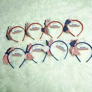 8 Scunci American Flag Ribbon Headbands